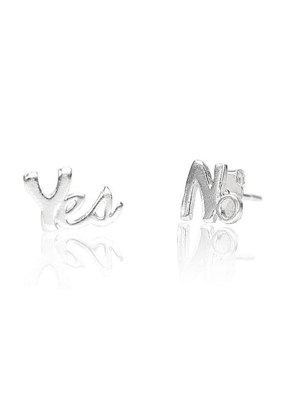 Yes No Mismatch Stud Earring - Sterling Silver - LeCalla