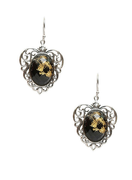 Vintage Gold Leaf Dangler Earring - Sterling Silver - LeCalla