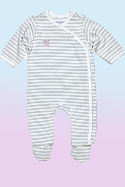 Baby Organic Cotton Side Snap Footie - Pink Bunny