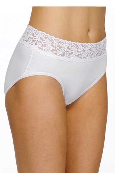 Organic Cotton Full Brief with Lace (size S thru 2X) - Natural Clothing Company