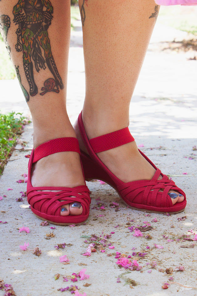 Re-Mix Vintage Shoes Penny in Red Canvas