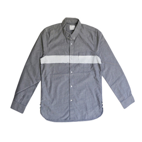 BOARDER PRINTED OX SHIRT GREY