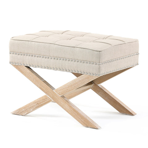 Brooke Ottoman Stool Oak Legs Latte - Black Mango