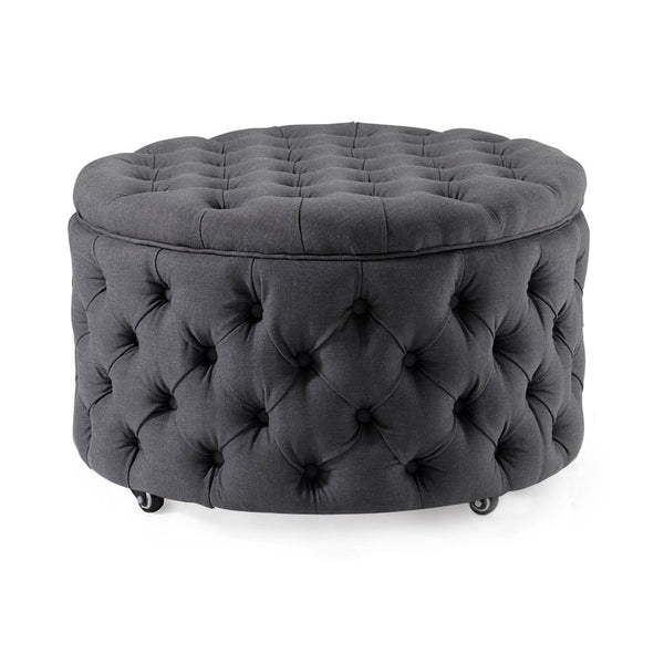 Emma Storage Ottoman Large 75cm Charcoal - Black Mango