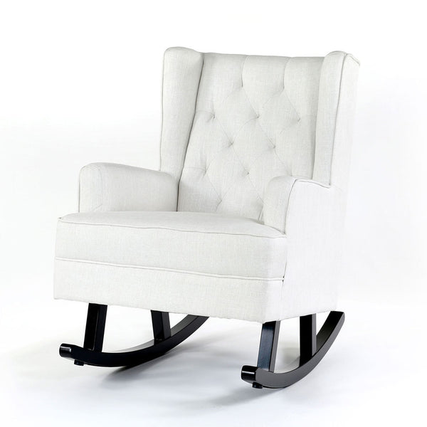 Isla Wingback Rocking Chair Linen White Black Legs - Black Mango