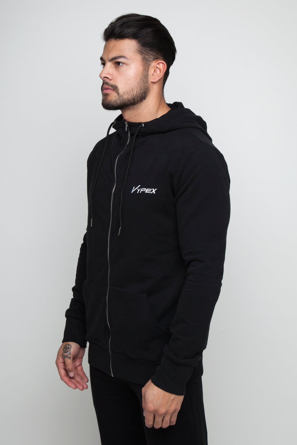 Vypex® Impression Fitted Men's Zip Up Hoodie In Carbon Black