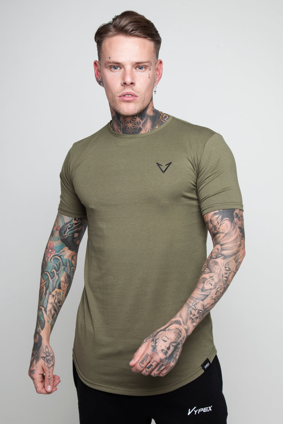 Vypex® Power Fitted Men's Gym T-Shirt In Khaki Green