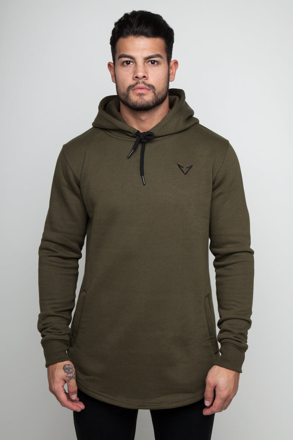 Vypex creed fitted mens gym hoodie khaki green