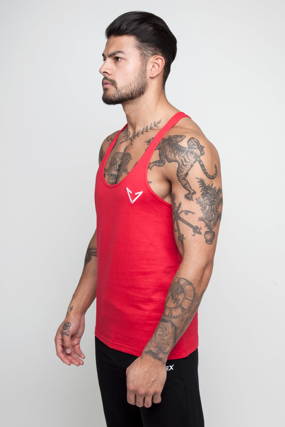 red gym small logo stringer vest by Vypex