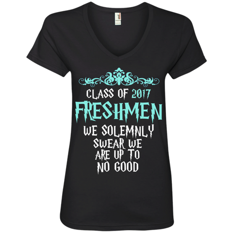 Class of 2017 Freshmen We Solemnly Swear We Are Up to No Good Ladies' V-Neck Tee