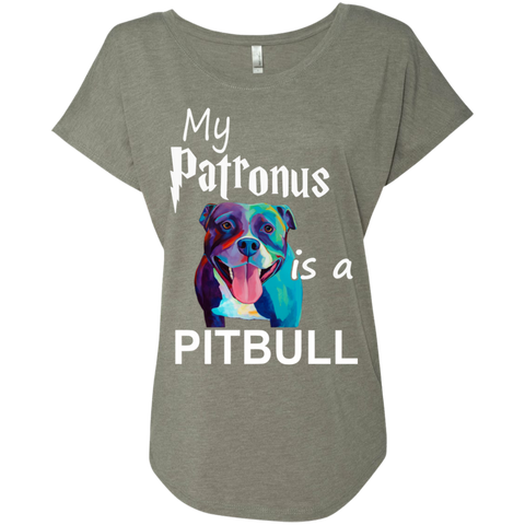 My Patronus is a Pitbull  Level Ladies Triblend Dolman Sleeve