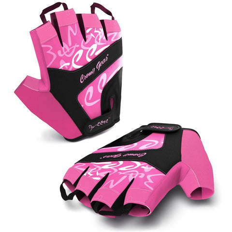 Breeze Women's Biking Cycling Gloves - with Adjustable Wrist Closure and Pull-Off Tapes - Pink