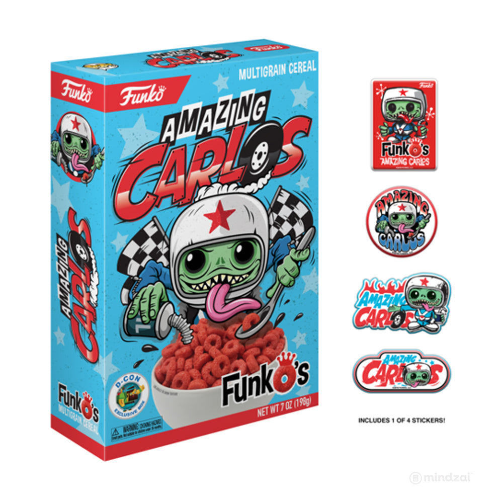 Funko's Cereal with Amazing Carlos Sticker Pack! Designer Con ( DCON ) Exclusive
