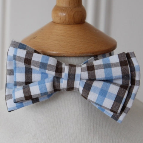 Kid's Bow Ties - Blue & Brown check