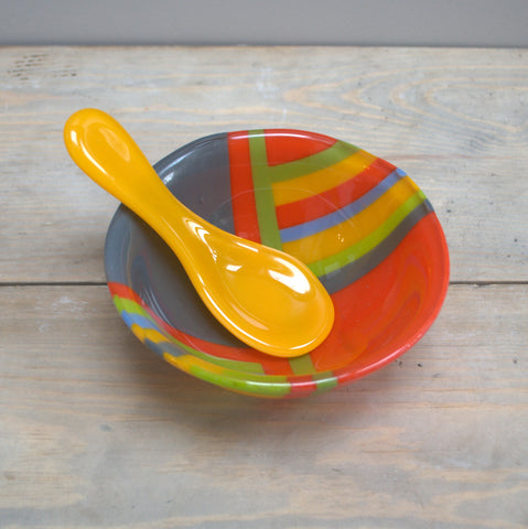 Small glass bowl with spoon