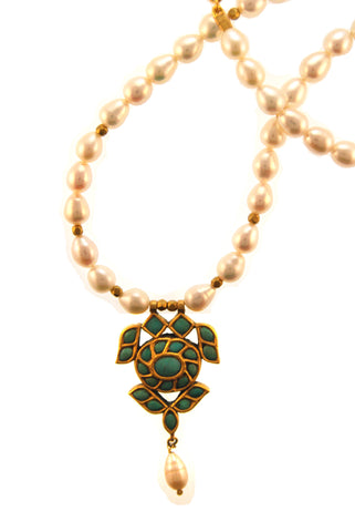 22k Antique Turquoise Pendant on 18k Pearl Strand