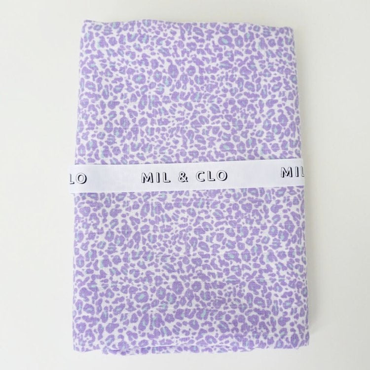 Mil & Clo - lavender leopard - Muslin swaddle