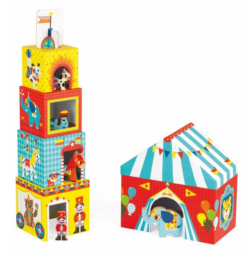 Janod Toys - Circus Themed - Cubed Stacking Toy - How I Wonder.co.uk - 2