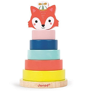 Janod Toys - Baby Forest - Wooden Fox Stacker - How I Wonder.co.uk - 1