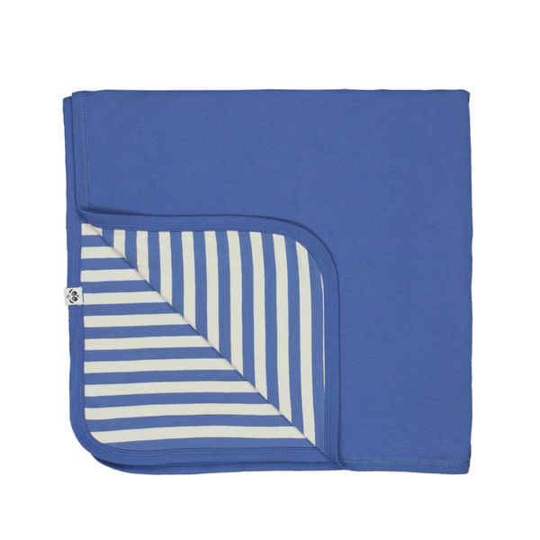 Bamboo Striped Reversible Baby Blanket  - Panda and the Sparrow - Sapphire & Natural - How I Wonder.co.uk - 2