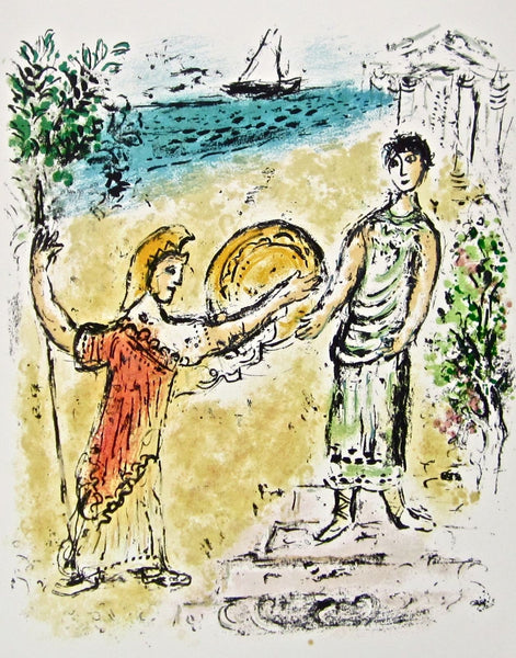 Athena and Telemachus (The Odyessy) 1989, Ltd Ed Lithograph, Marc Chagall - Fine Artwork