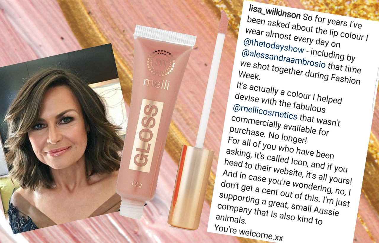 melli cosmetics lip gloss called icon custom created for lisa wilkinson. lisa wilkinson lip gloss icon