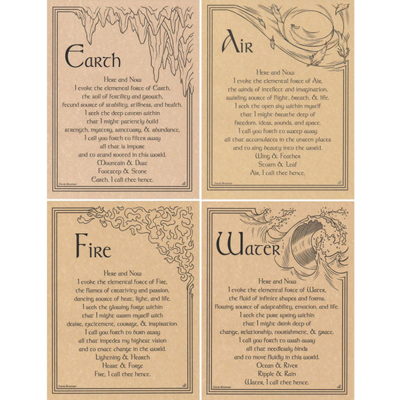 Set of Four Elements Parchment Posters (8.5