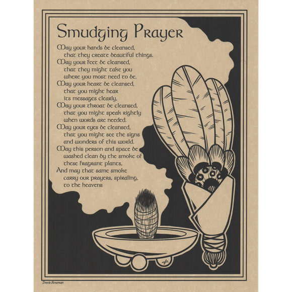 Smudging Prayer Parchment Poster (8.5