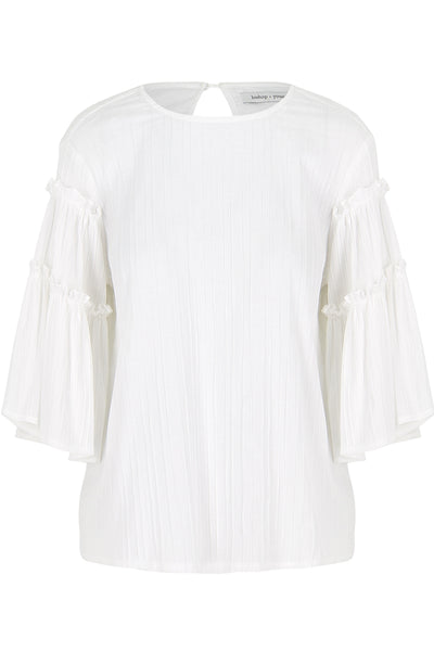 Love In White Flare Sleeve Top