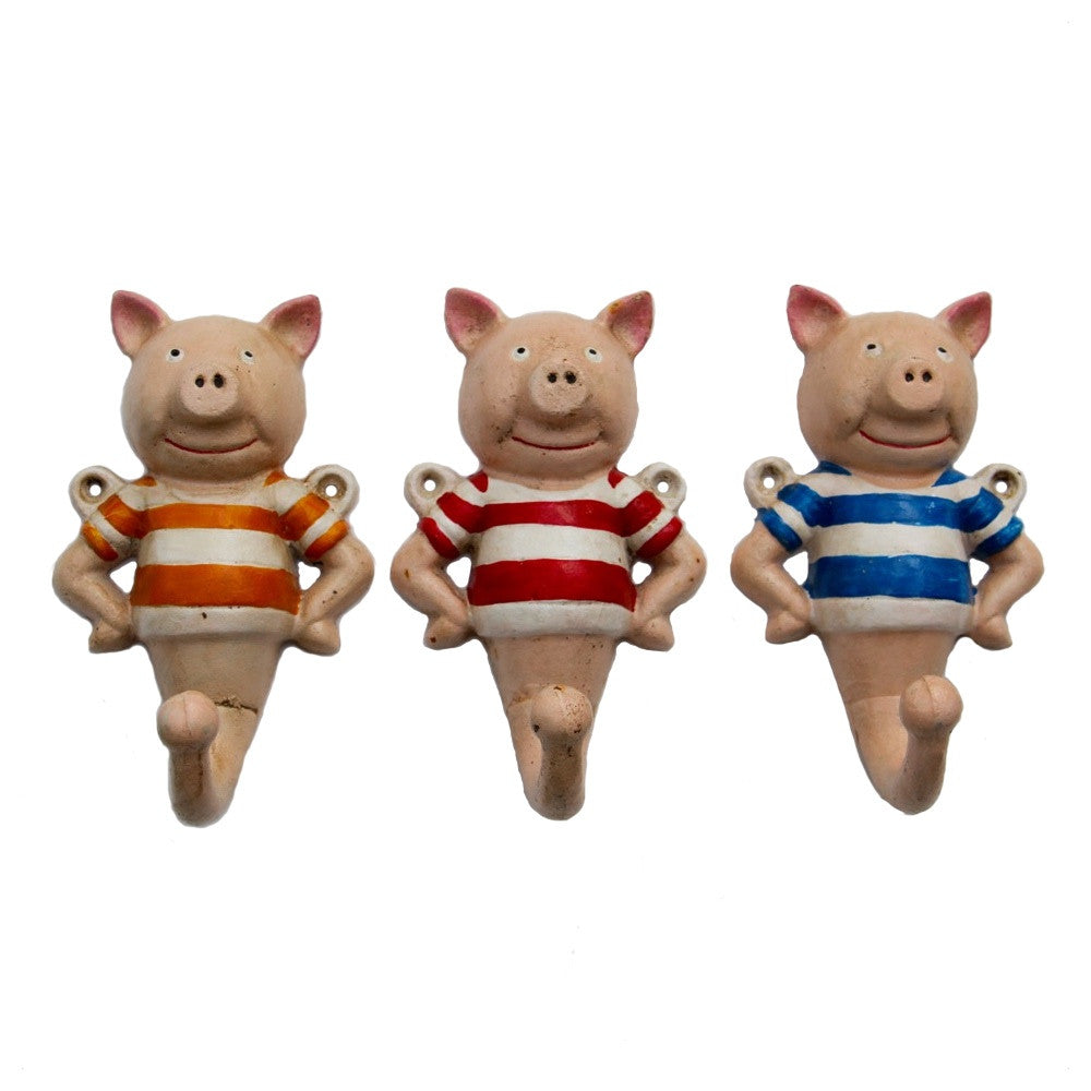 Three little pigs coat hooks