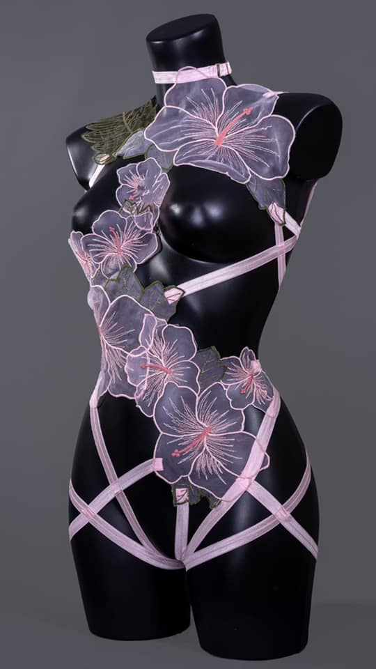 BLOSSOM IN THE SNOW - Pastel Pink Organza Flower Bodycage