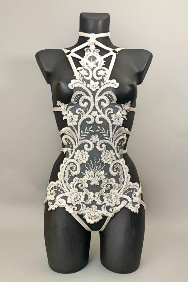 CONFESSION - Couture Beaded Ivory Lace Bodycage