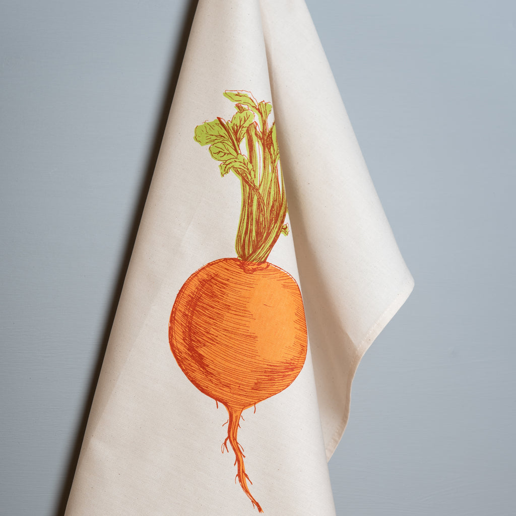 orange turnip vegetable printed cotton tea towel