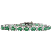 10.17 Carat Natural Emerald 14K White Gold Diamond Bracelet