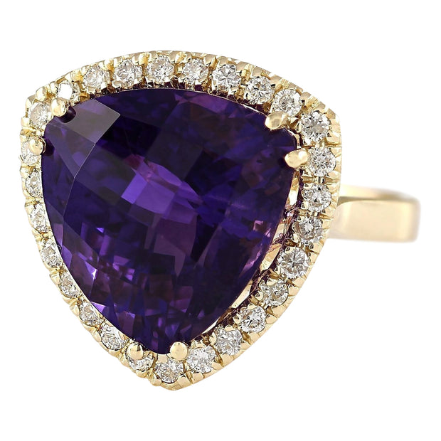 12.65 Carat Natural Amethyst 14K Yellow Gold Diamond Ring