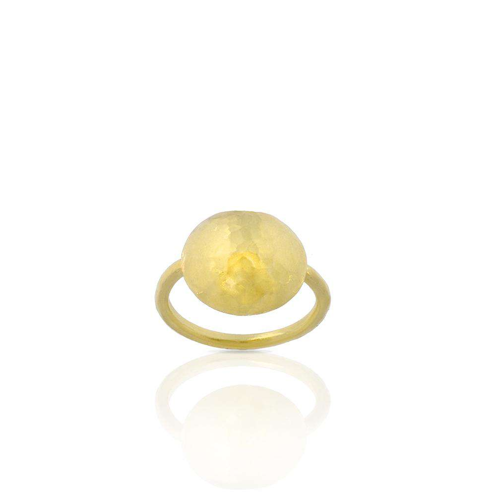 Hammered Round Ring in Gold