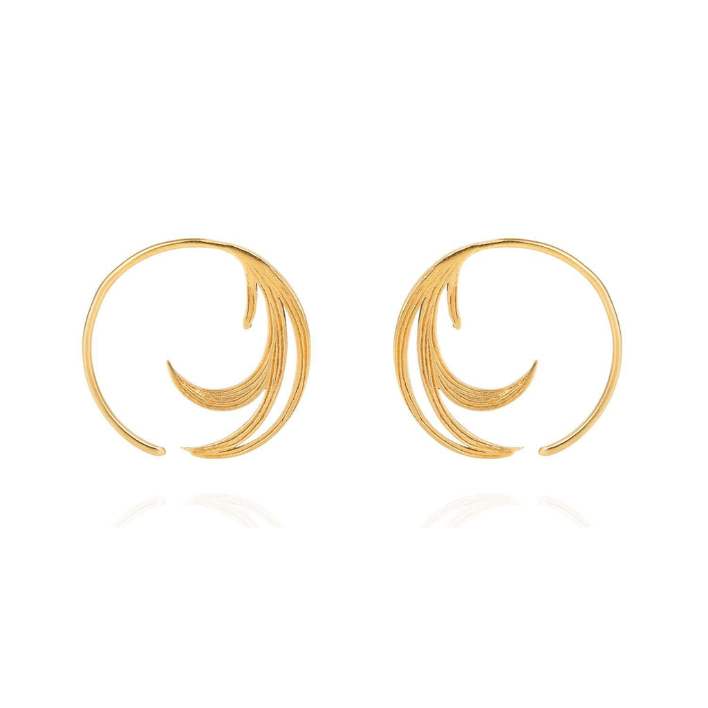Duck Feather Hoop Earrings - Gold