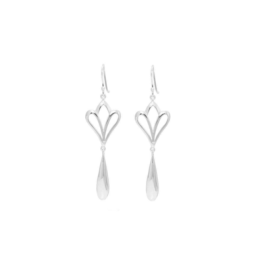 Silver Fleur De Lis Drop Earrings