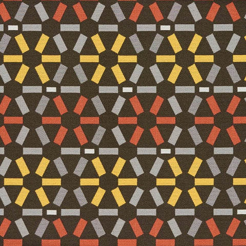 Arc-Com Atomic Coal Geometric Design Gray Upholstery Fabric