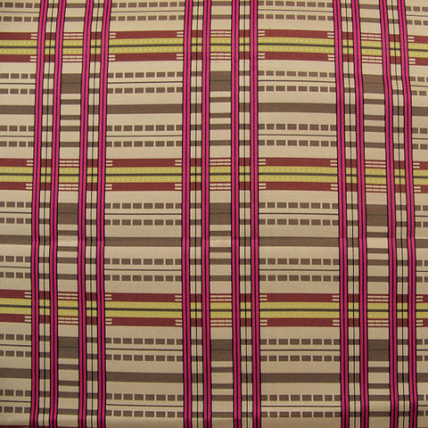 Upholstery Fabric Large Grid Stripe Aerial View Magenta Toto Fabrics