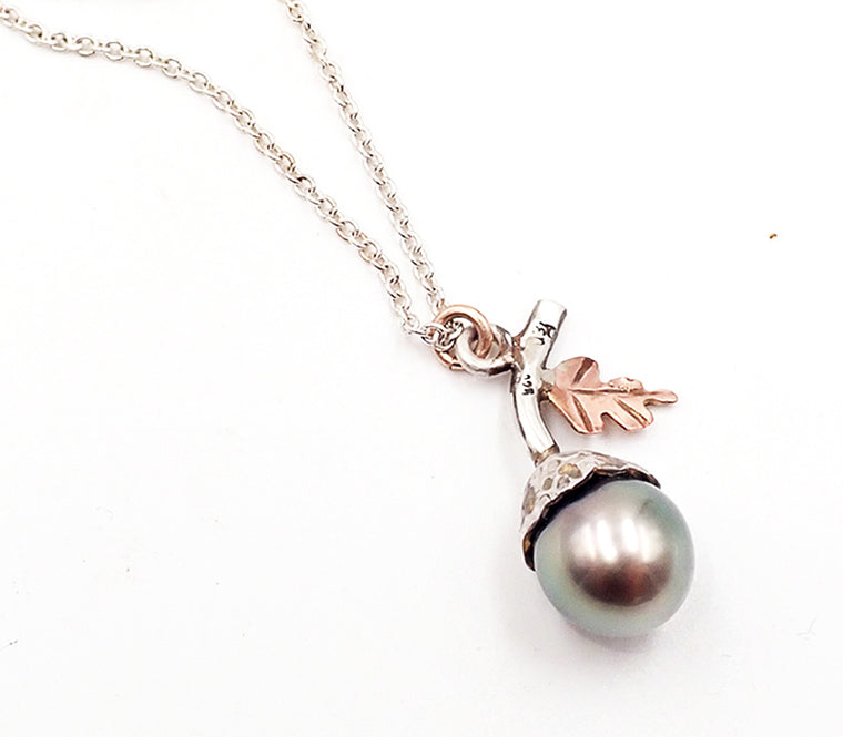 Acorn Necklace with Tahitian Pearl