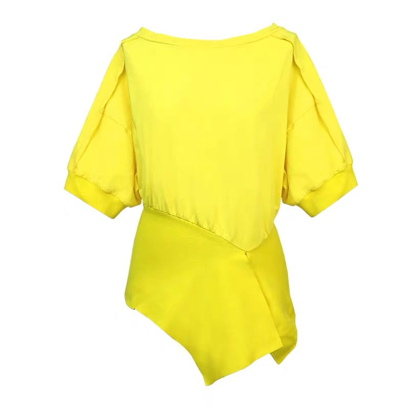 YELLOW PEPLUM T