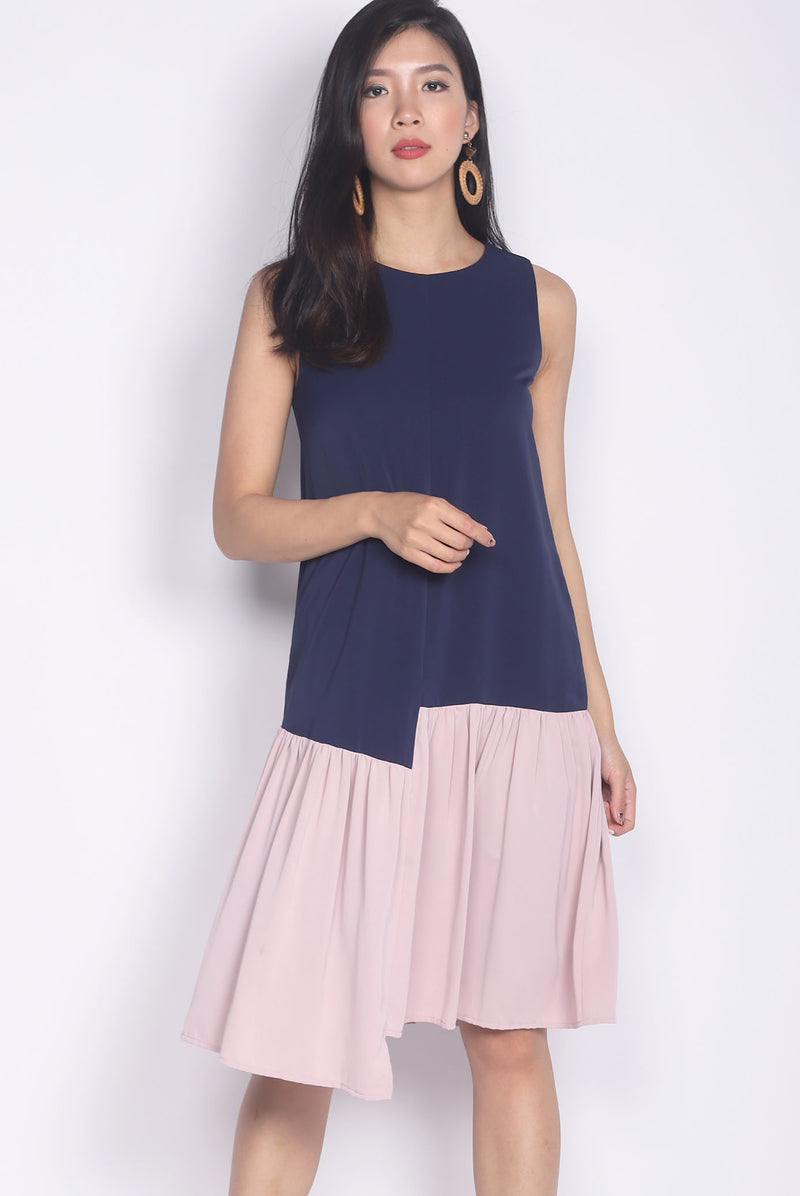 Gramercy Colour Block Step Dress In Navy/Pink