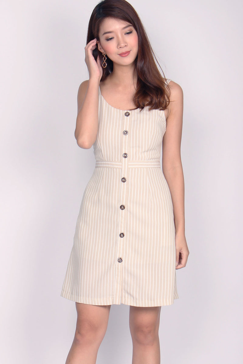 Lainie Faux Buttons Spag Dress In Khaki Stripes