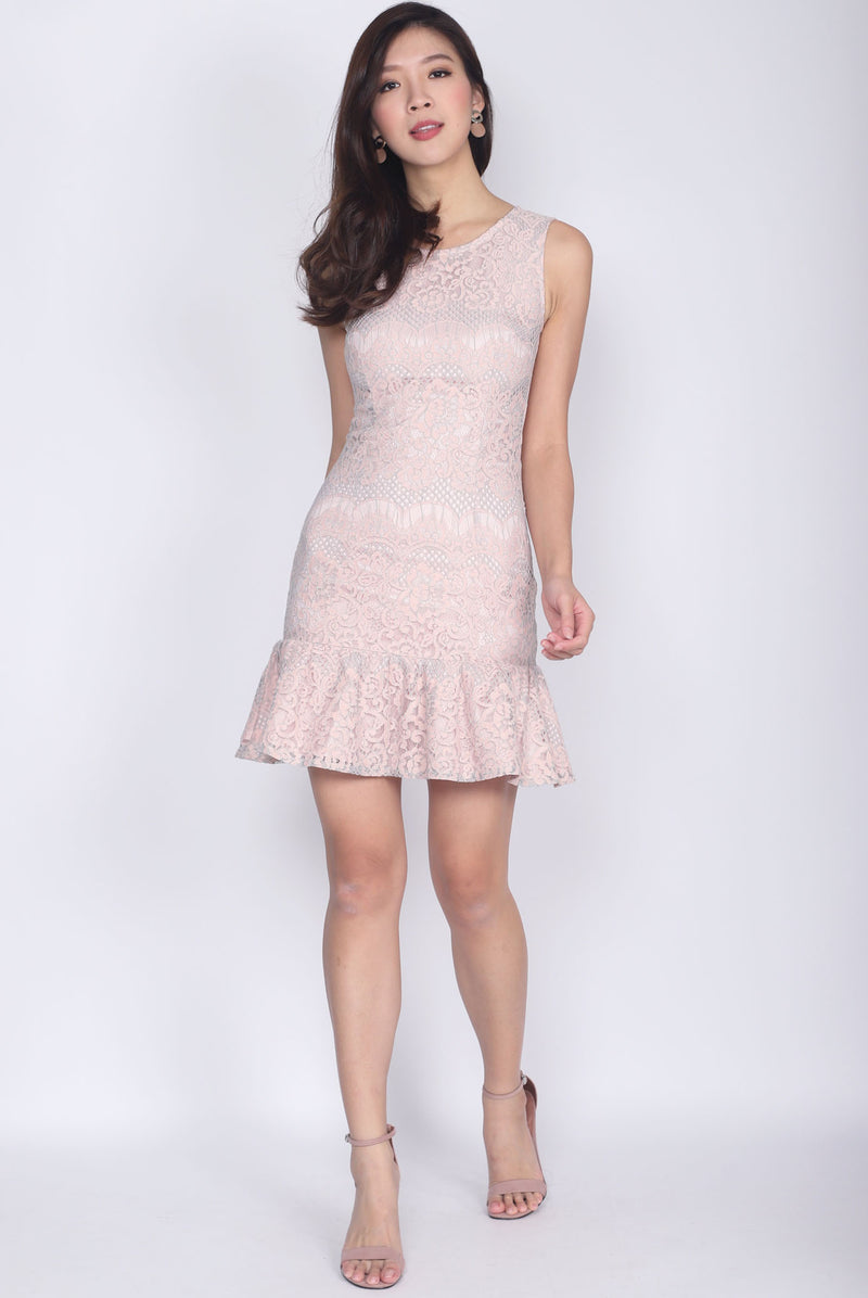 Nieva Lace Drop Waist Dress In Pink