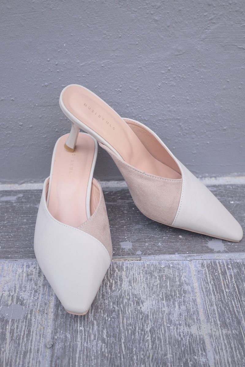 *Backorder* Roma Slip On Heels In Cream