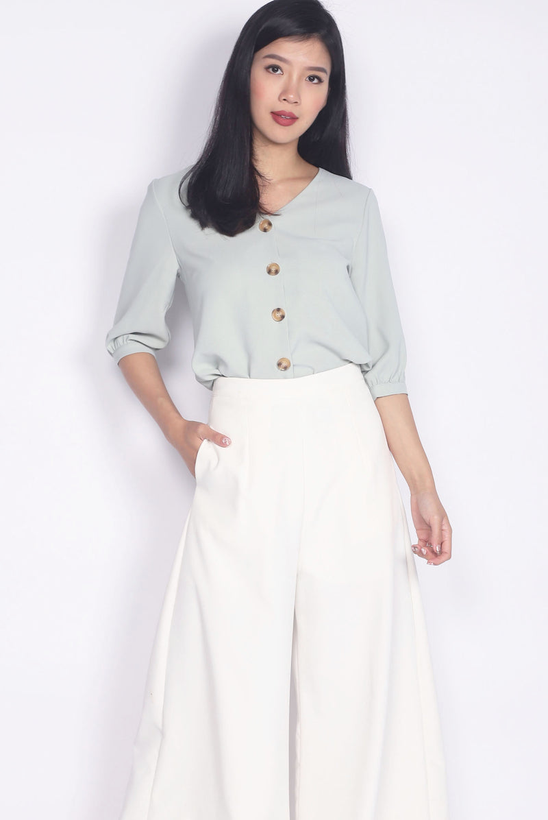 TDC Auria Buttons Cuff Sleeve Top In Sage