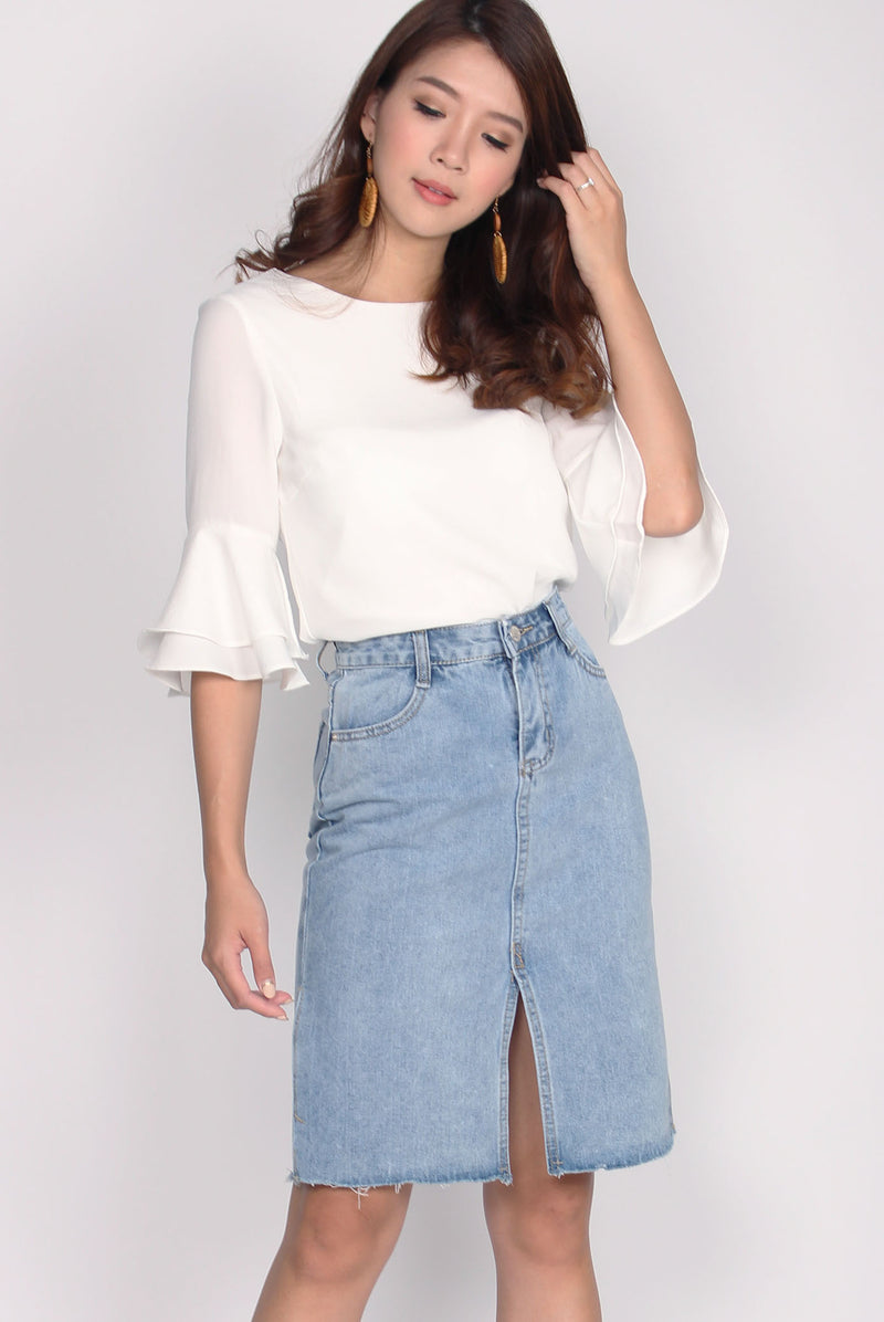 TDC Beyla Bell Sleeve Top In White