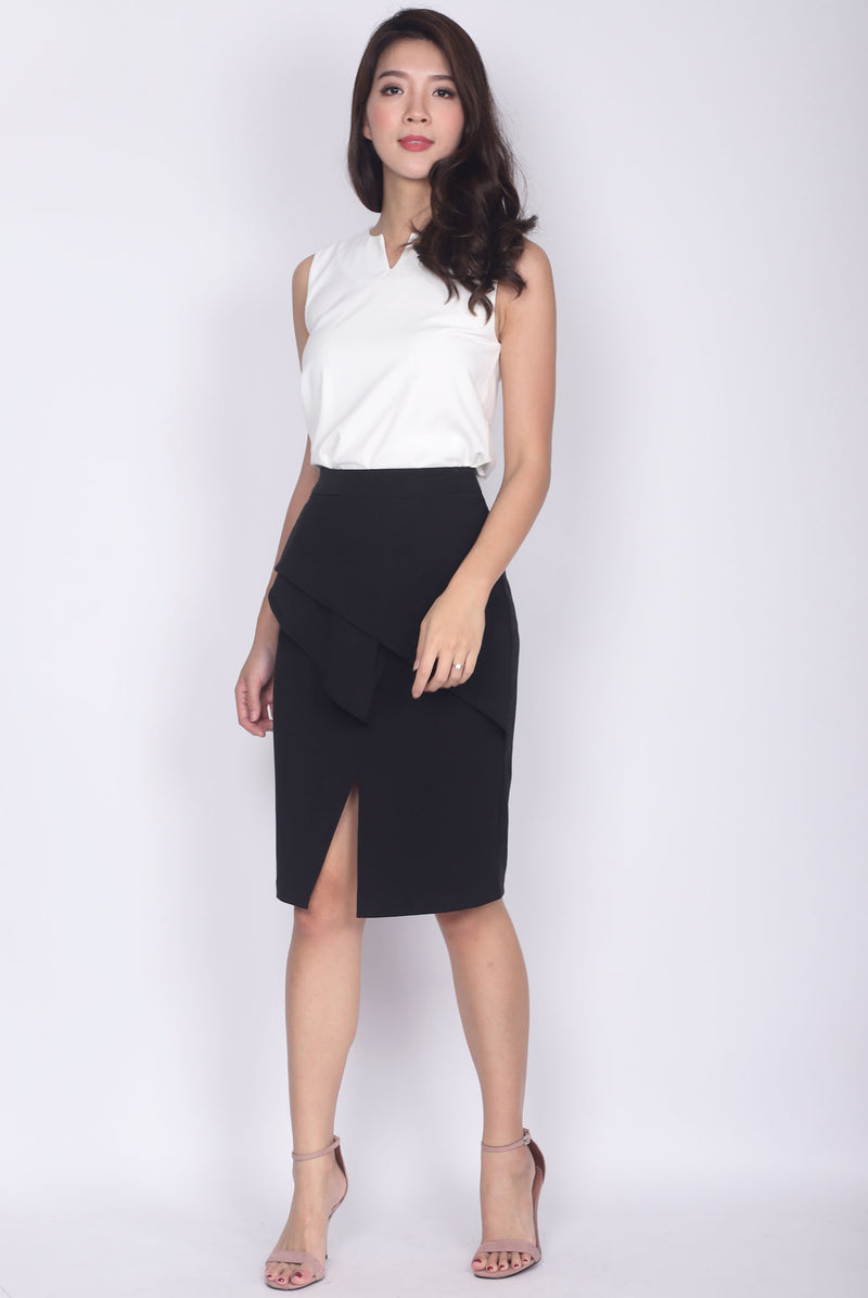 TDC Dimity Peplum Pencil Skirt In Black