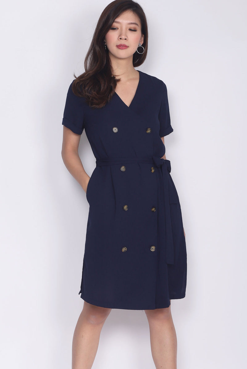 TDC Garrison Buttons Shirt Dress In Navy Blue